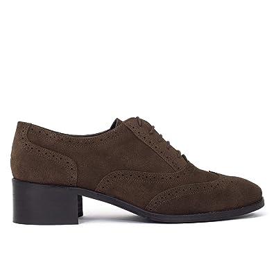 Zapato Piel Chocolate Hecho EN Mujer tacón con ESPAÑA Oxford 4araT