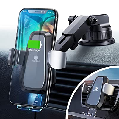 DesertWest Wireless Car Charger Mount Auto Clamping Sensor Dashboard Vent Cell Phone Holder, Qi Fast Charging Compatible with iPhone, Samsung Galaxy, Huawei, LG, Smartphones: Home Audio & Theater