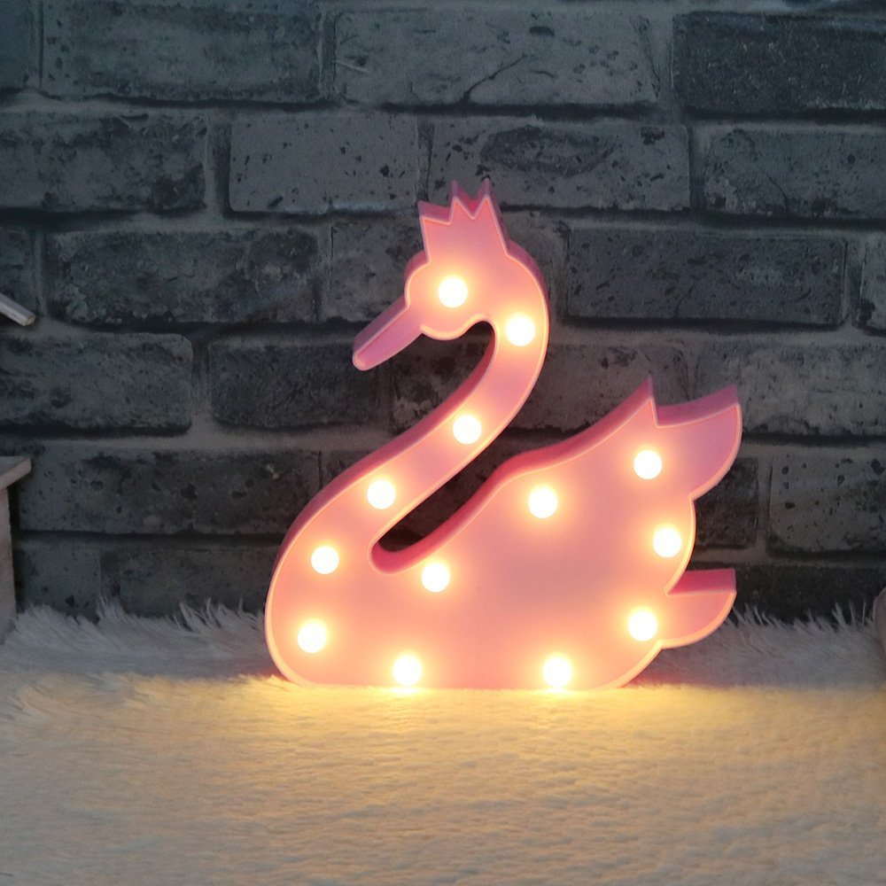 Mystery&Melody Swan LED Night Lights Animals Mood Nights for Children Kids Baby Sweet Nursery Room Decoration Lamps (Swan-Pink)