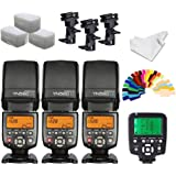 YONGNUO YN560iv Wireless Speedlite 3pcs +YN560TX Flash Controller for Nikon Cameras+B Type Flash Swivel Bracket+INSEESI Clean Cloth +3 Flash Diffusers+20 Color Gels