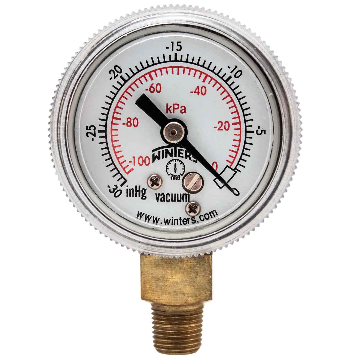 Winters P9S 90 Series Steel Dual Scale Pressure Gauge with Removable Lens 30Hg Vacuum kpa 1 1 2 Dial Display 2 1 2% Accuracy 1 8 NPT Bottom Mount