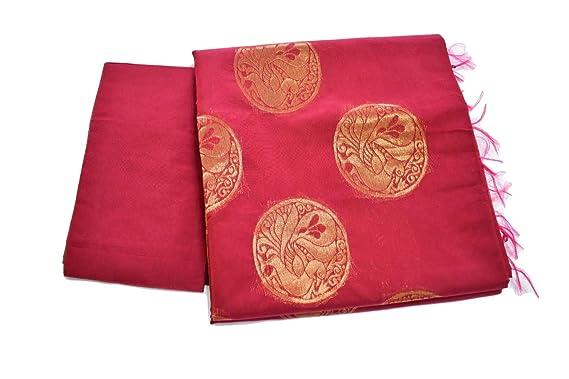 a68731e3744d27 Rainbow Collections South Soft Cotton Silk Saree with zari Peacock Design  in Maroon Color. Saree
