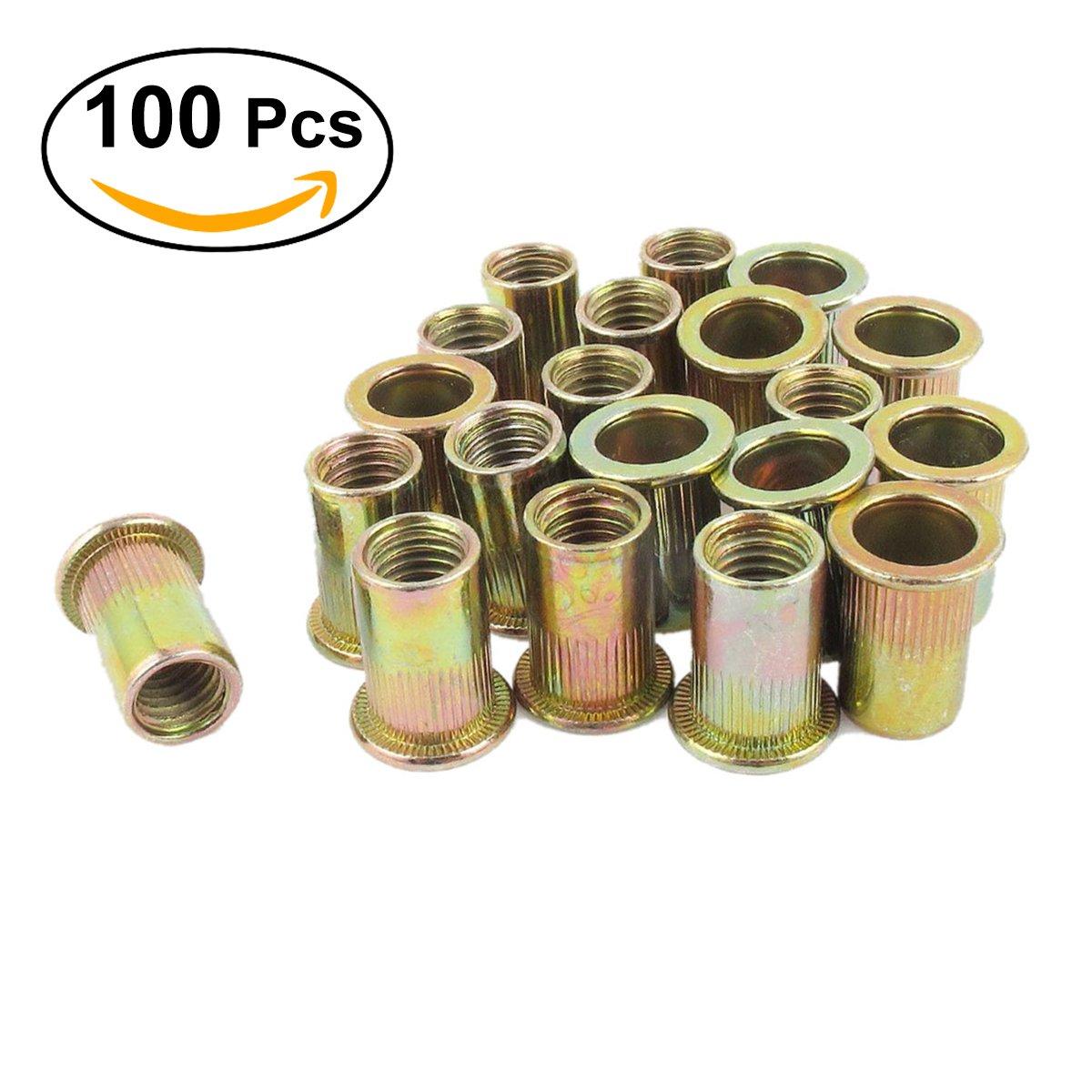 UEETEK 100 Stü ck Stahl Nietmuttern Sortiment verzinkt Nutsert
