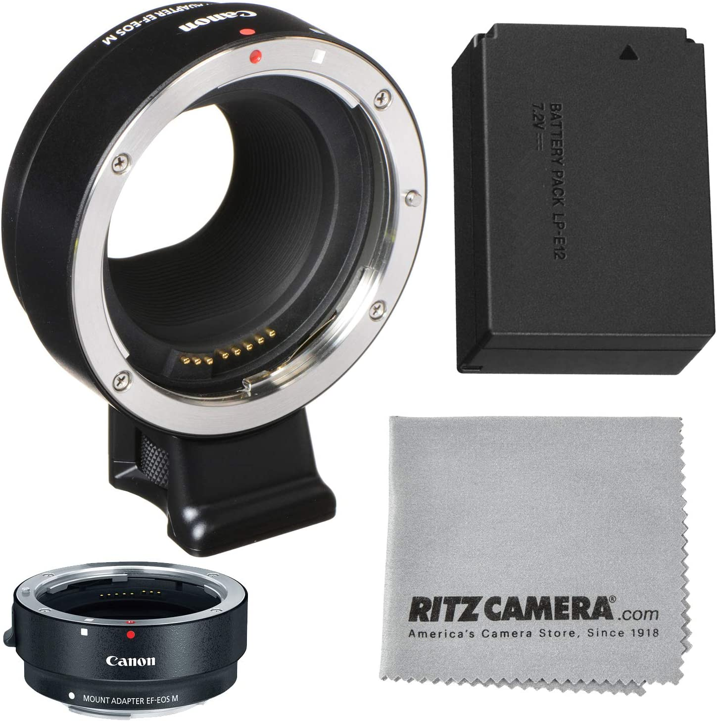 Lens Cleaning Cloth Polaroid Extreme Pro SD 32GB Memory Card Canon EOS M Mount Adapter for EF//EF-S Lenses