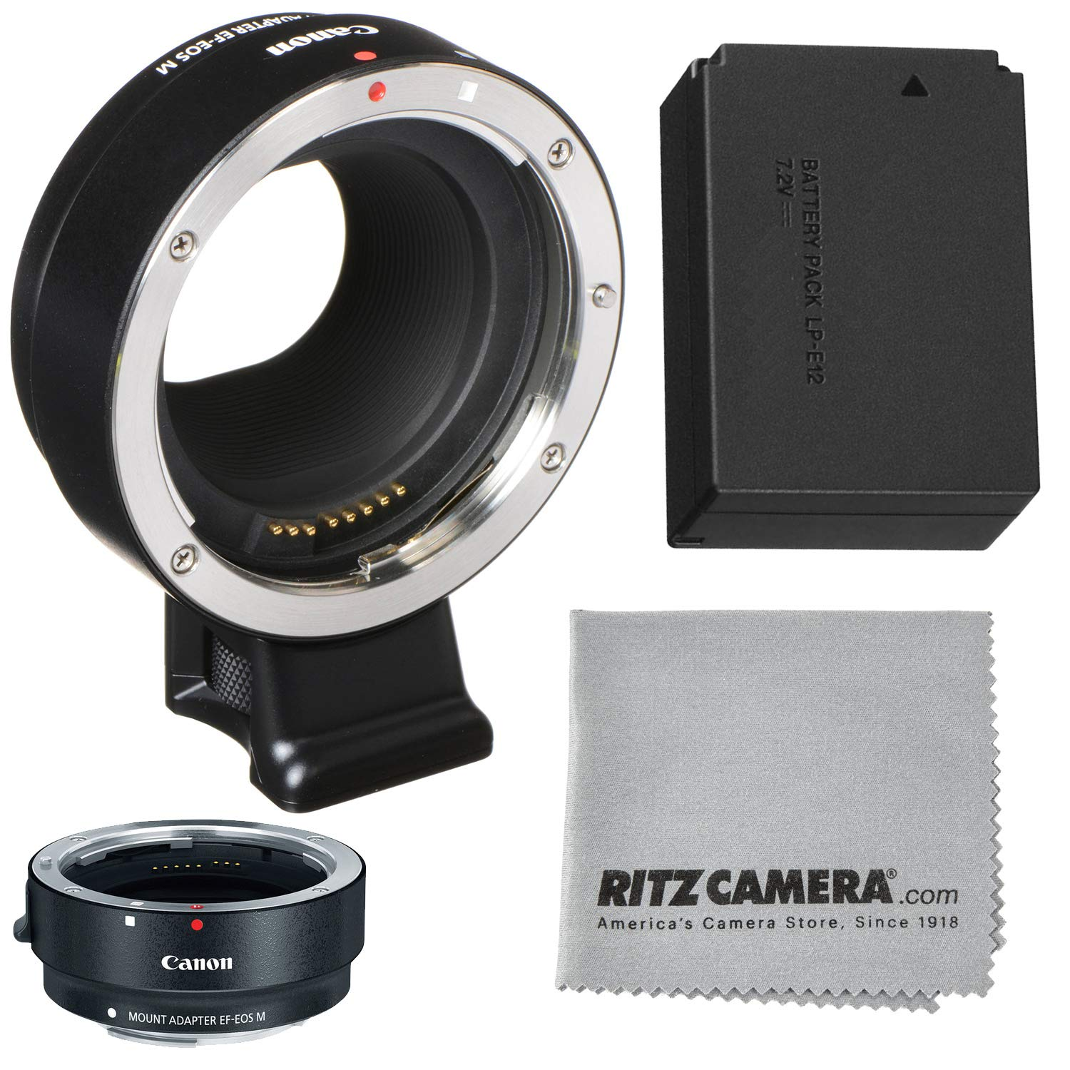 Canon EOS M Mount Adapter for EF/EF-S Lenses +LP-E12 Battery + Lens Cleaning Cloth by Ritz Gear
