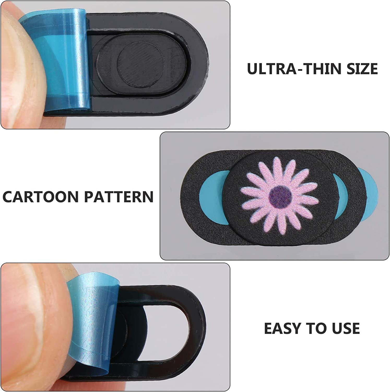 Minkissy 3pcs Chrysanthemum Style Webcam Cover Laptop Camera Cover Blocker Compatible for Computer Tablet Phone Privacy Protector Random Color
