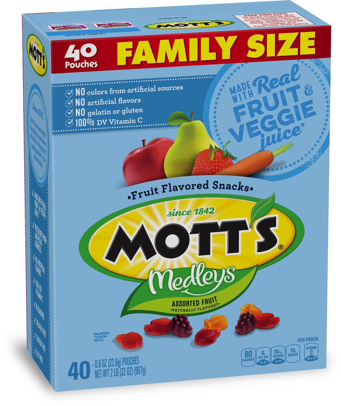 Mott's Medleys Fruit Snacks, Gluten Free, Family Size, 40 Pouches, 0.8 oz
