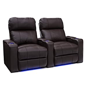 Seatcraft Julius Big & Tall 400 lbs Capacity Home Theater Seating Leather Power Recline with Adjustable Powered Headrest, USB Charging Port, and Lighted Cup Holders and Base, Brown, Row of 2