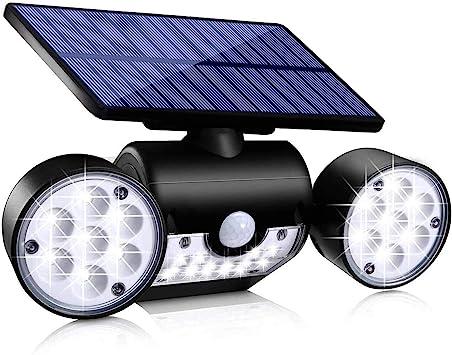Ollivage Solar Lights Outdoor Motion Sensor Security Lights Solar Wall Lights With Dual Head Spotlights 30 Led Waterproof 360 Adjustable Solar Motion Lights Outdoor For Garden Garage Patio 1 Pack