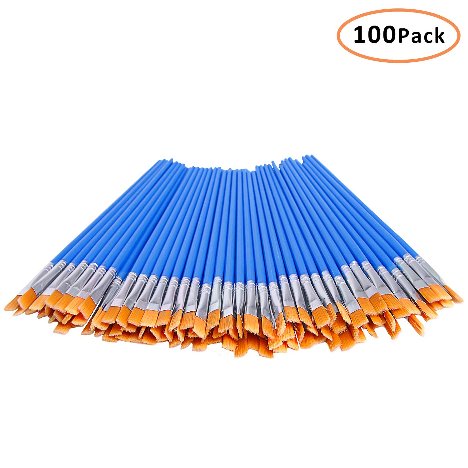 DECYOOL 100 Pcs Flat Paint Brushes,Small Brush Bulk for Detail Painting,Nylon Hair Brushes Acrylic Oil Watercolor Fine Art Painting for Kids,Children,Students,Starter,Teens, Adults, Artist by DECYOOL