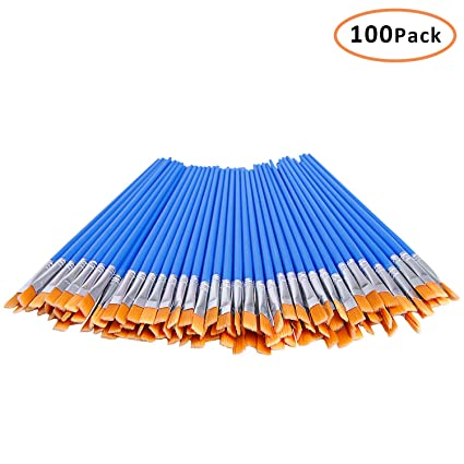 Decyool 100 Pcs Flat Paint Brushes Small Brush Bulk For Detail Painting Nylon Hair Brushes Acrylic Oil Watercolor Fine Art Painting For