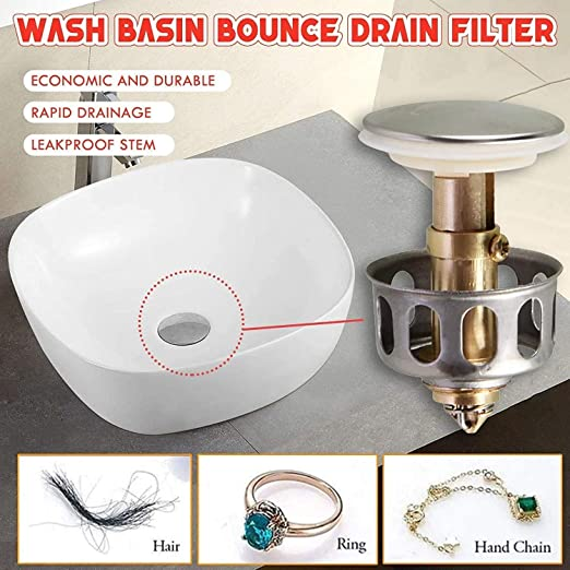 3Pcs Stainless Steel Push-Type Bounce Core for Bathroom Vessel Vanity Sink Drain Universal Wash Basin Bounce Drain Filter Vessel Sink Pop Up Drain With Detachable Brass Basket Stopper