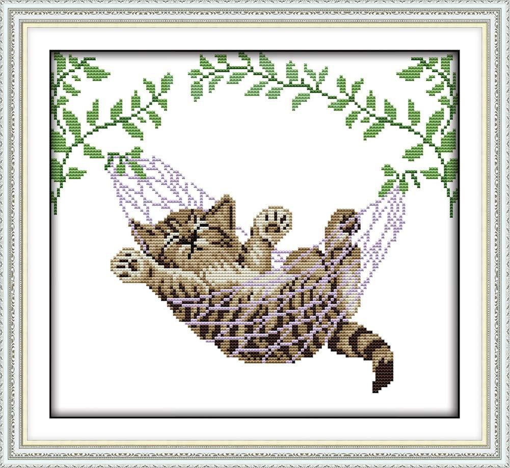 YEESAM ART New Cross Stitch Kits Advanced Patterns for Beginners Kids Adults Cat Sleeping Green Tree Leaves DIY Needlework Wedding Christmas Gifts Sleeping Cat, Stamped