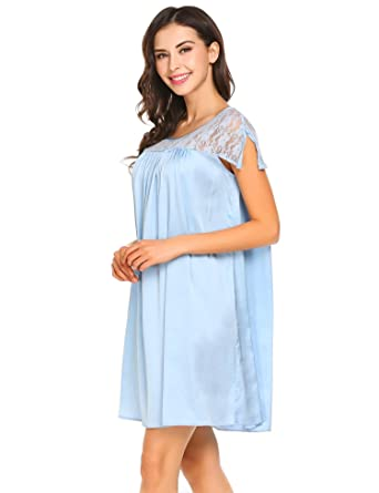 dba4220c47 Dicesnow Women s Solid Tricot Long Shiny Satin Silky Nightgown(Blue ...