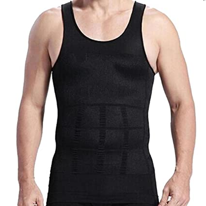 4a54b502c6e4b RujulWear Men Body Slimming Tummy Shaper Vest Belly Waist Girdle Shirt  Underwear Shapewear (Black