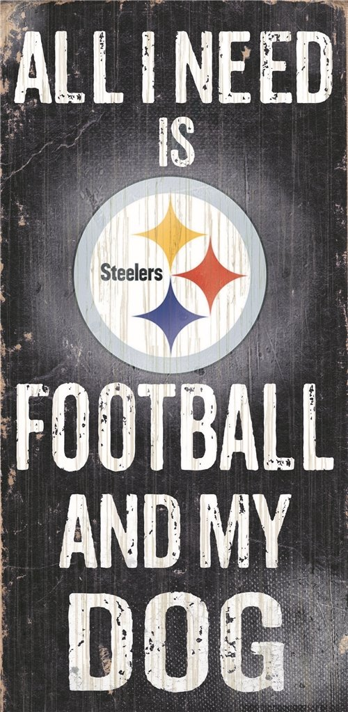 Pittsburgh Steelers Wood Sign - Football And Dog 6''x12'' by Hall of Fame Memorabilia