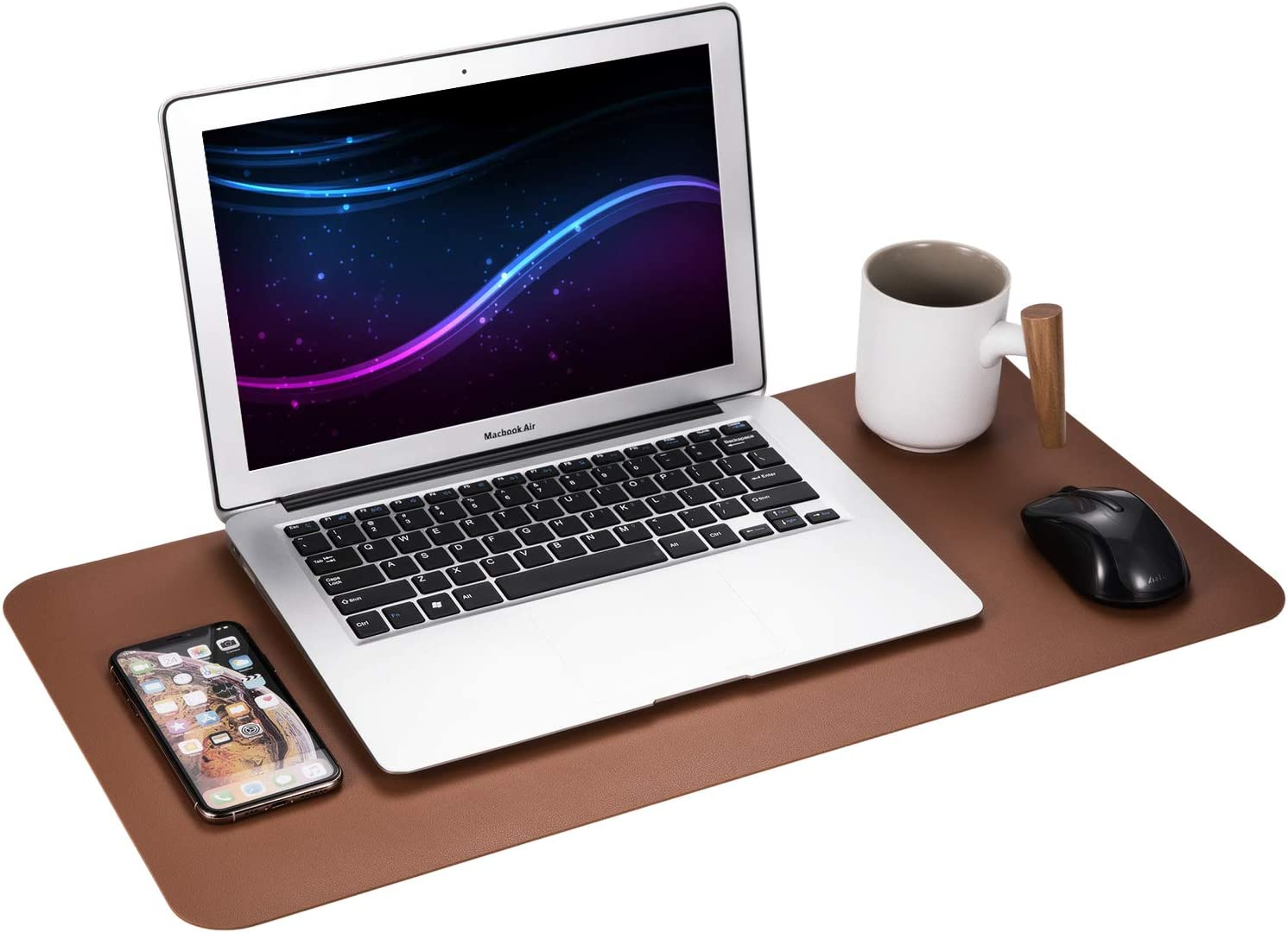 "Gogloo Multifunctional Office Desk Pad, Dual Sided PU Leather Mouse Pad, Thin and Waterproof Desk Blotter Protector, Desk Writing Mat for Office/Home (Brown, 23.6"" x 12"")"