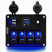 KEING 4 Gang 12V-24V DC Rocker Switch Panel Waterproof LED Circuit Breaker with Dual USB Charger & Digital Voltmeter…