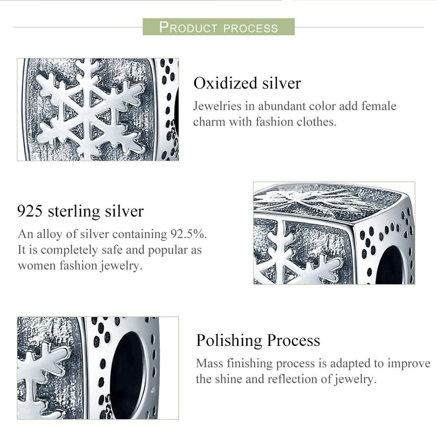 EverReena Beads Trendy Snowflake Square Four Seasons for Silver Bracelets