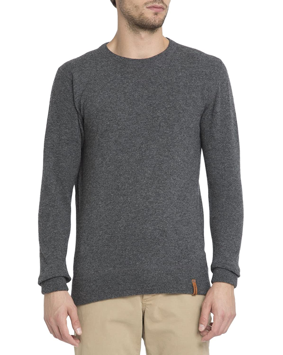 KNOWLEDGE COTTON APPAREL - Crew-neck Sweaters - Men - Charcoal Lambswool Round-Neck Sweater for men