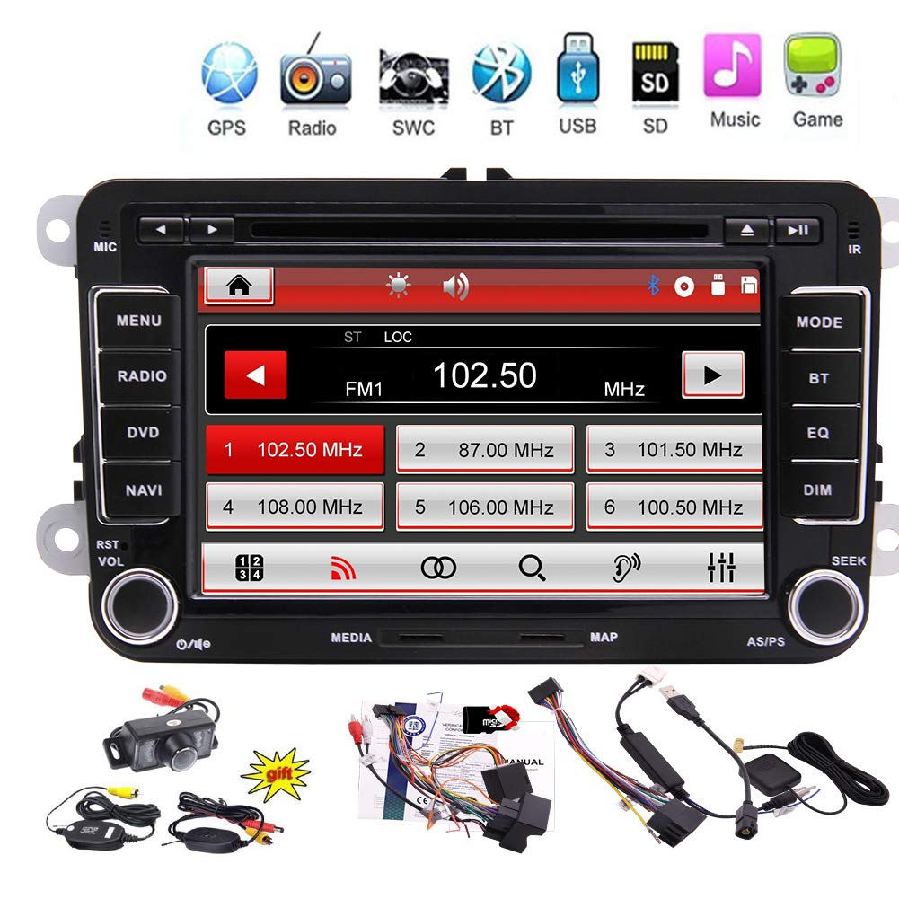 Car Stereo for Volkswagen Radio Double Din Indash 7'' DVD/CD/MP3 Player Touch Screen GPS Navigation Bluetooth Hands-Free Call FM/AM Radio/Steering Wheel Control Function+Wireless Reversing Camera by EINCAR