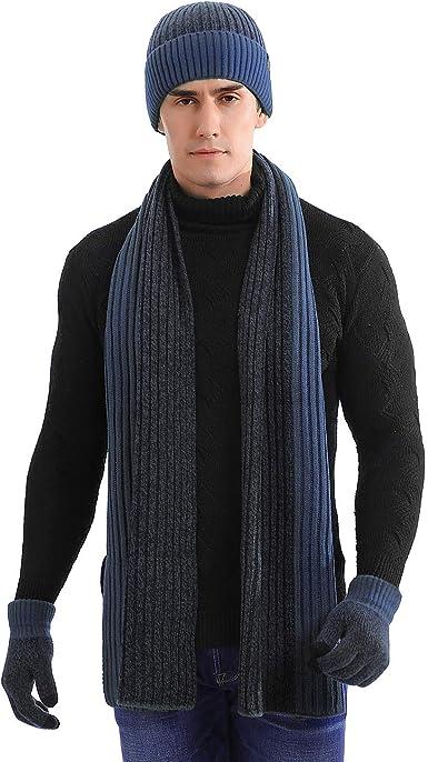 Schal Mütze und Touchscreen Handschuh Set für Damen und Herren mit Fleecefutter