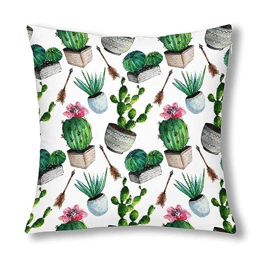 Kinhevao Acuarela Cactus suculenta y Flecha en cojín ...