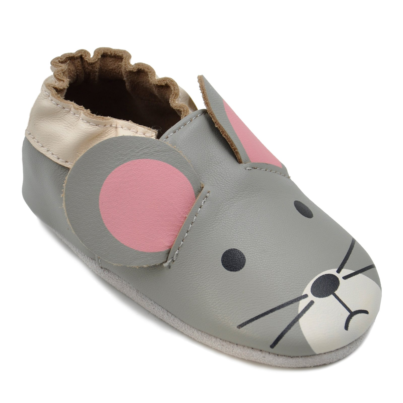 Kimi + Kai Baby Unisex Lambskin Leather Soft Sole Shoes - Mouse (12-18 Months) Grey by Kimi & Kai
