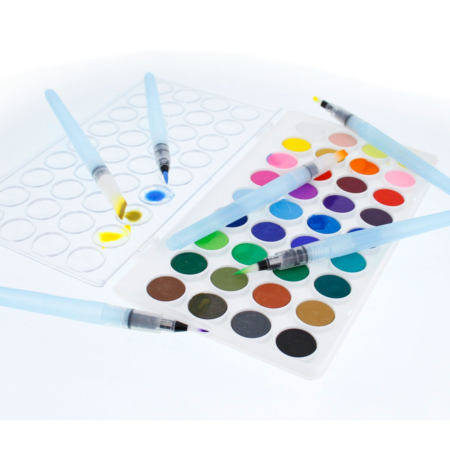 U.S. Art Supply 12-Piece Water Coloring Brush Pen Set of 12 (2 of each size - 01, 02, 03, 04, 07,10) - Refillable, Watercolor, Calligraphy, Painting by US Art Supply (Image #4)