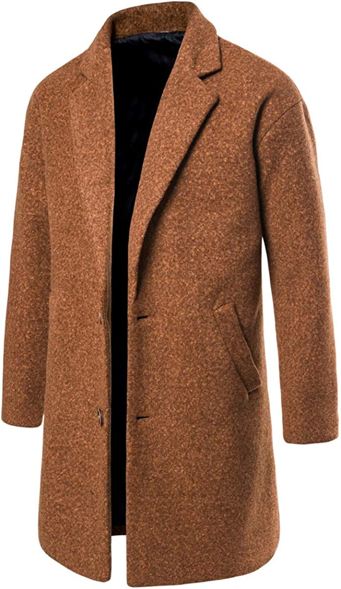 AOWOFS Mens Wool Coat Long Trench Coat Winter Casual Slim Fit Overcoat Business Outwear