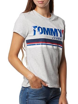 168ee2d4c0bb Tommy Hilfiger T- Shirt Femme Gris Foil Logo Tee  Amazon.fr  Vêtements et  accessoires
