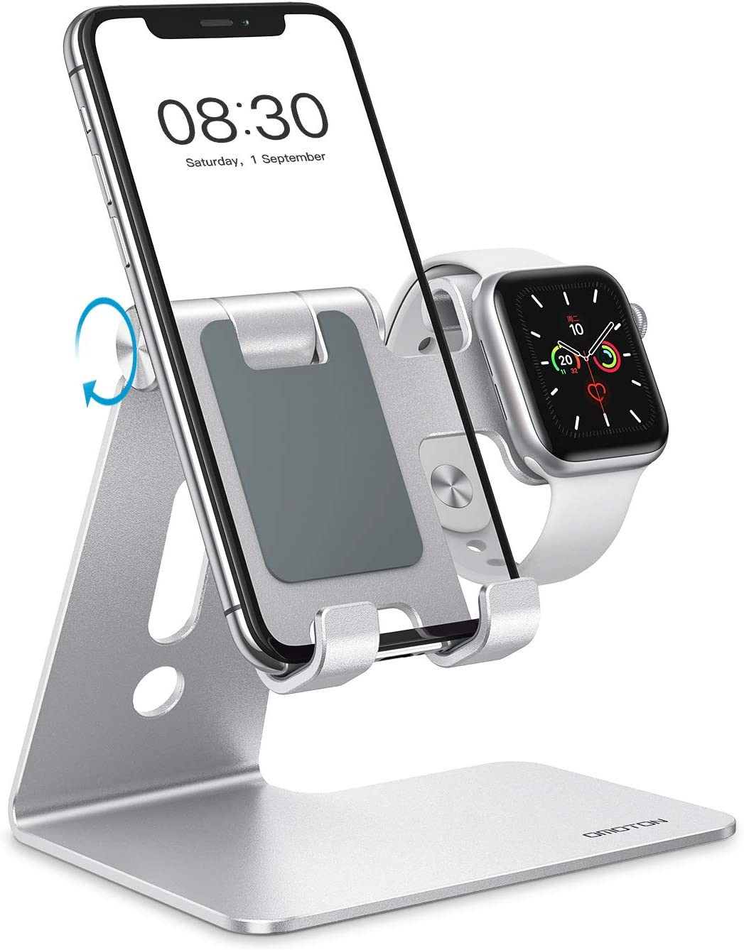 OMOTON Apple Watch Charging Stand - 2 in 1 Adjustable Aluminum Phone Stand Holder Dock for Apple Watch SE/6/5/4/3/2/1, Apple Watch Charger Stand for iPhone 11/SE 2 2020/11 Pro/Xs/Xs Max/XR, Silver