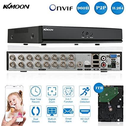 Amazon com: KKmoon 16CH Channel Full 960H/D1 DVR HVR NVR HDMI P2P