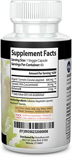 TURMERICKARE-Organic Turmeric Curcumin with BIOPERINE for Optimal Absorption.Advanced Joint ANTIOXIDANT Support with Guaranteed 95 CURCUMNIONIDS. Gluten,Dairy Free TURMERICCARE