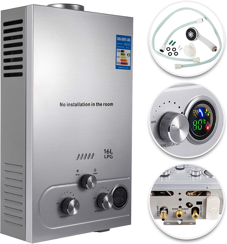VEVOR Calentador de Gas, Calentador de Agua de Gas 6L/8L/10L/12L/16L/18L Calentador de Agua a Gas LPG, Calentador de Gas Butano Gas Propano, Calentador de Agua (16L)