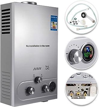 Imagen deVEVOR Calentador de Gas, Calentador de Agua de Gas 6L/8L/10L/12L/16L/18L Calentador de Agua a Gas LPG, Calentador de Gas Butano Gas Propano, Calentador de Agua (16L)