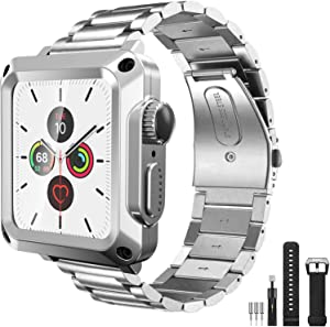 HUALIMEI Case with Band for Apple Watch 44MM Series 6 SE Rugged Metal Bumper Case Stainless Steel Band with Built-in Tempered Glass for iWatch 5 4 Full Protective Cover Straps Screen Protector(Silver)