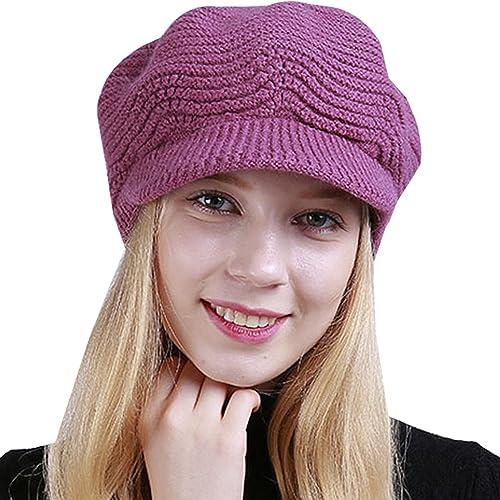 BOZEVON Nuevas mujeres de Invierno Cálido trenzado de punto Brim Visor de esquí sombrero de la boina...