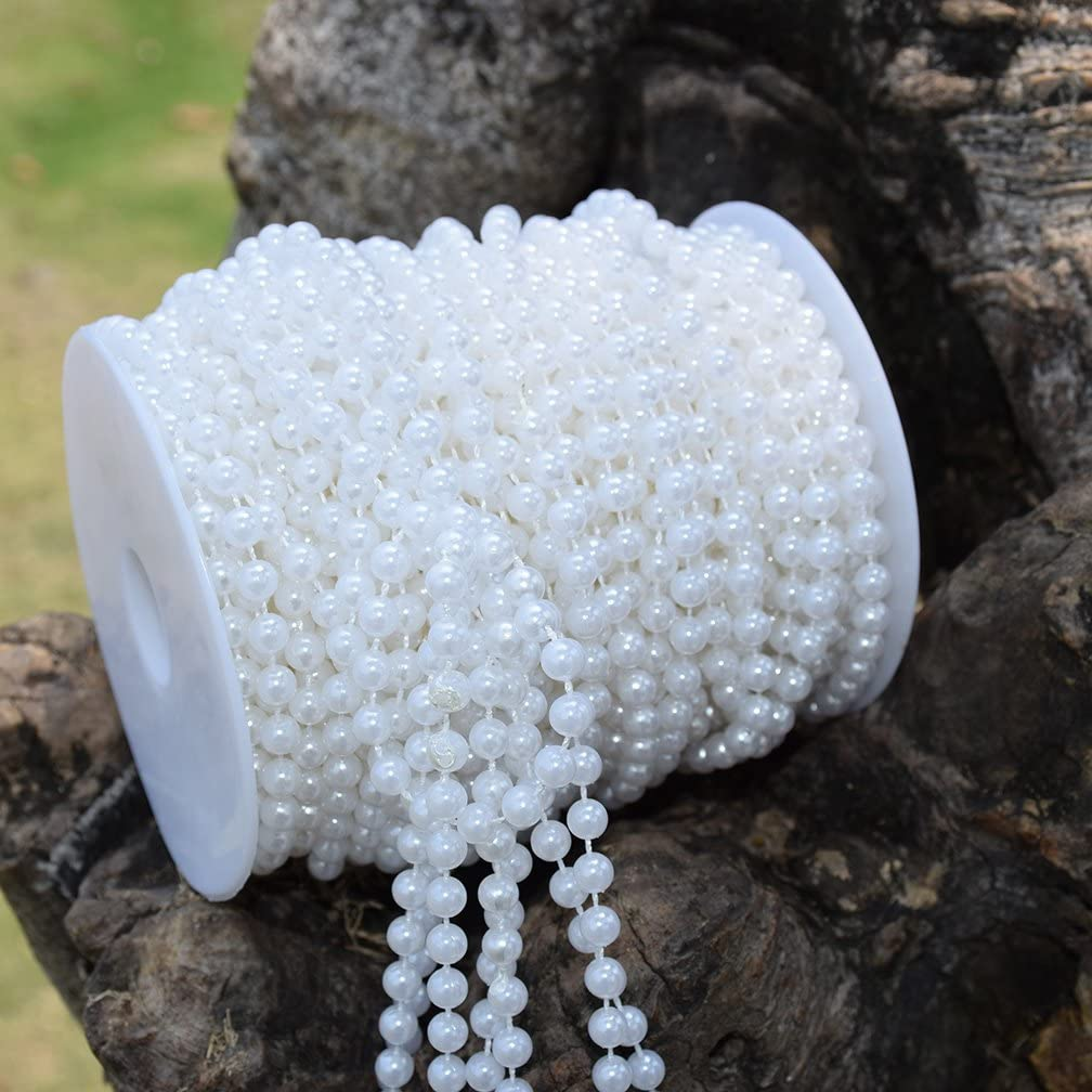 BoJia Wedding 10 mm Large Pearls Faux Crystal Beads by The Roll White