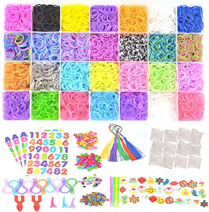 Childrens Craft Set 12 x  600 Tye Dye Bracelet Loom Bands Clips Hook Tool