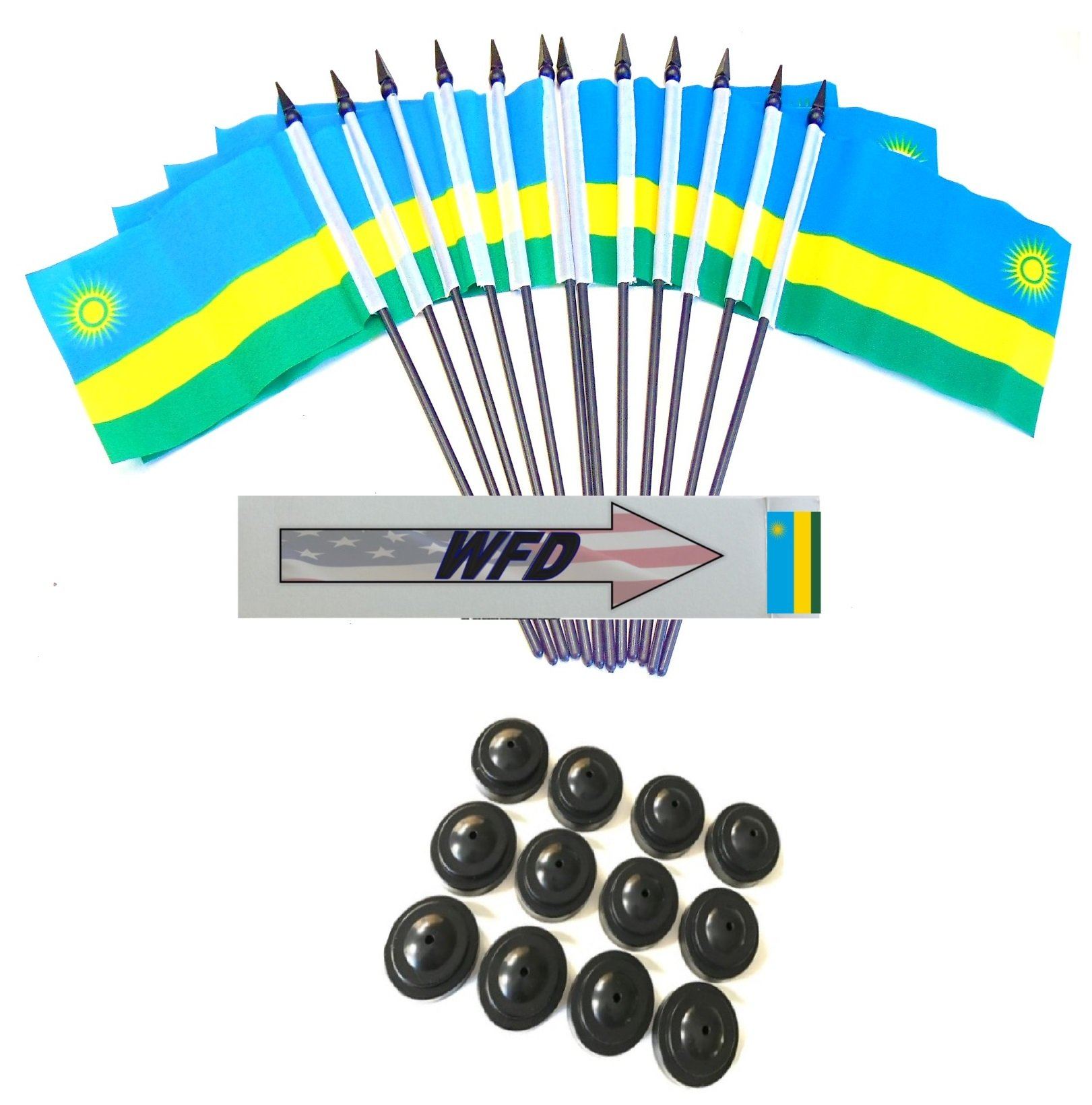 Pack of 12 4''x6'' Rwanda Polyester Miniature Office Desk & Little Table Flags, 1 Dozen 4''x 6'' Rwandan Small Mini Handheld Waving Stick Flags with 12 Flag Bases (Flags with Stands) by World Flags Direct (Image #1)