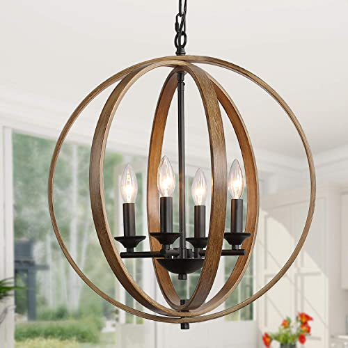 LOG BARN 20 Farmhouse Chandelier, Faux-Wood Hanging 4-Light Fixture for Dining Living Room, Bedroom, Foyer and Entryway