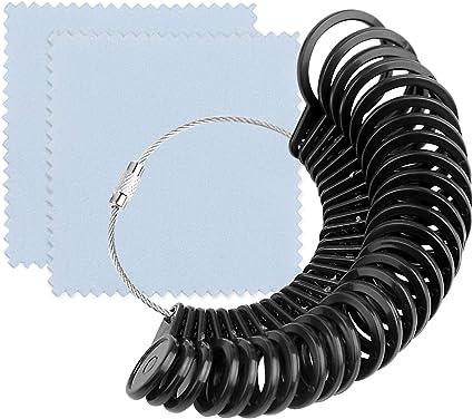 KUUQA 3Pcs Ring Measuring Tools Finger Sizer Belt with Jewelry Polishing Cloth Ring Sizer 1-13 with Half Size Ring Gauge Set