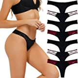 LYYTHAVON 7 Pack Thongs for Women, Lace Stretchy Spandex Nylon Underwear