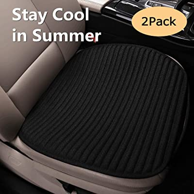 EifBrisa Universal Anti-Slip Seat Cushion, Natural Linen Fabric & Buckwheat Hulls Car Seat Pad for Moisture Wicking and Sweat-Proof, Prevent Leather Seats from Burning in Summer & Jeans Fading-Black: Automotive