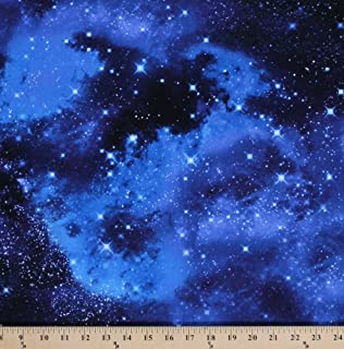 e2726376d63 Cotton Outer Space Galaxy Stars Cotton Fabric Print by the Yard  (Space-C9924)
