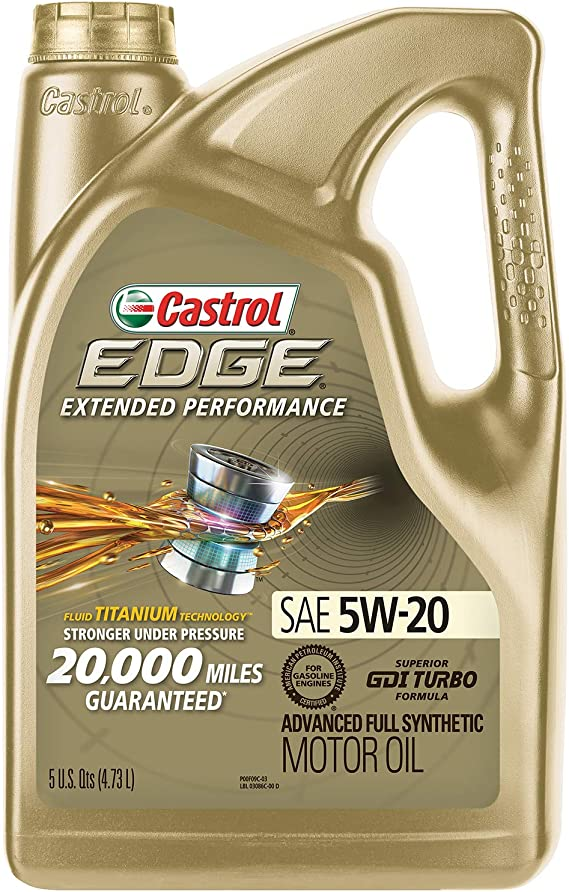 Castrol 03086 EDGE Extended Performance 5W-20 Advanced Full Synthetic Motor Oil