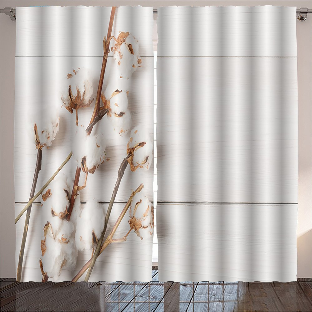 SOCOMIMI Nature Decor Curtains autumn composition dried white fluffy cotton flower top view on white wood with copy space floral
