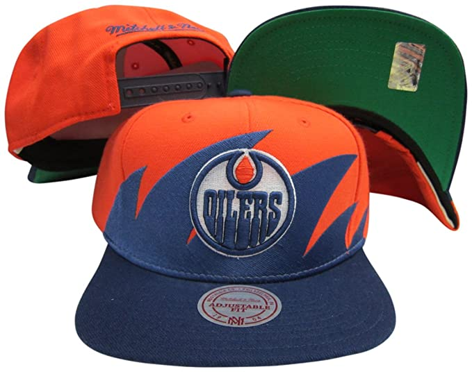 9864850ddcd Image Unavailable. Image not available for. Color  Mitchell   Ness Edmonton  Oilers Snapback Adjustable Plastic Snap Back ...