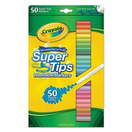 Amazon.com: Crayola 50ct Washable Super Tips Markers 50 Color ...